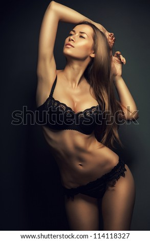 sexy attractive woman in black lingerie
