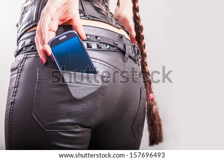 sexy back. cell phone in back pocket