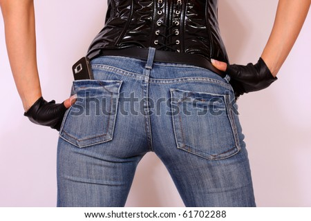 Sexy back girl wearing jeans