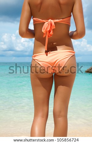 Sexy back on the beach in Boracay, Philippines - stock photo