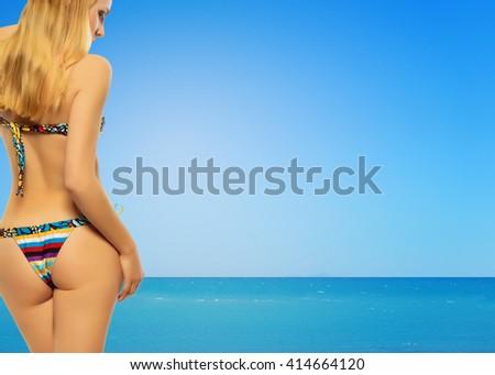 sexy beautiful blond woman on the beach - stock photo