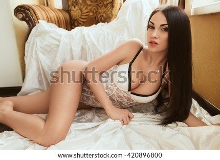 Sexy beautiful brunette girl in underclothes - stock photo