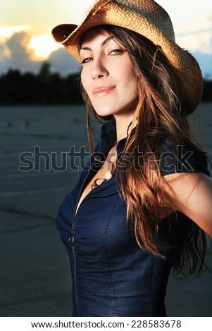 sexy beautiful cowgirl - stock photo