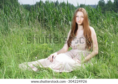 sexy beautiful girl white dress sitting stock photo