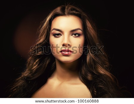 sexy beautiful woman in dark - stock photo