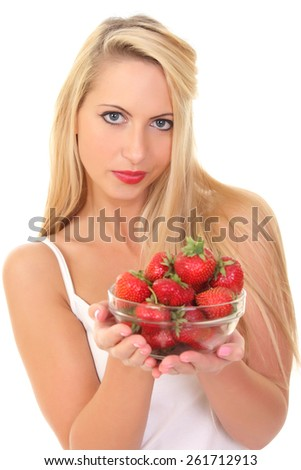 sexy beautiful young blond woman with strawberry