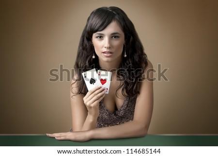 Sexy beautiful young girl in casino - stock photo