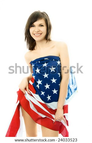 sexy beautiful young woman wrapped into the American flag