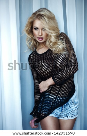 Sexy beauty woman in black shirt - stock photo