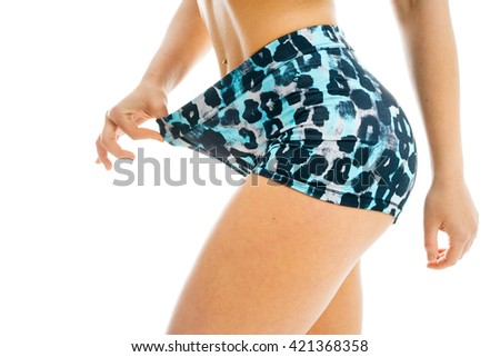 Sexy belly over white background - stock photo