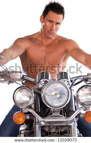 Sexy biker. - stock photo