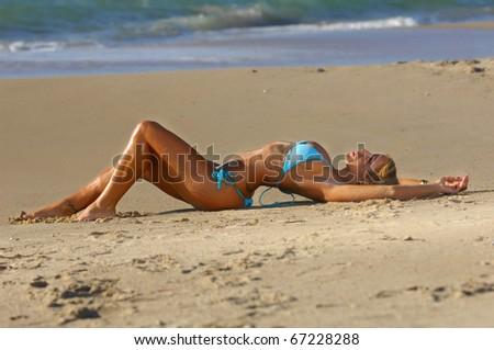 Sexy bikini girl - stock photo