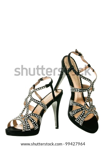 Sexy blingbling cocktail women shoes isolated on white background - stock photo