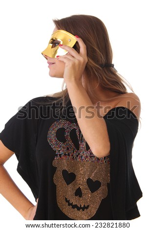 Sexy blond girl wearing a black dress masked - stock photo
