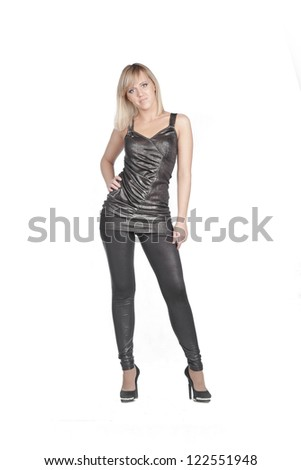 Sexy blond lady in black dress isolated on white