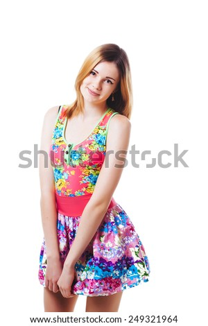 Sexy blonde Fashion Lady. Beautiful woman with long straight blond hair. Fashion model posing at studio. Young cute smiling girl isolated on white - stock photo