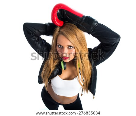 Sexy blonde girl with boxing gloves
