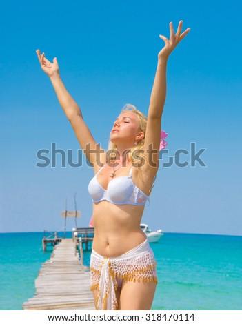 Sexy Blonde In Joy  - stock photo