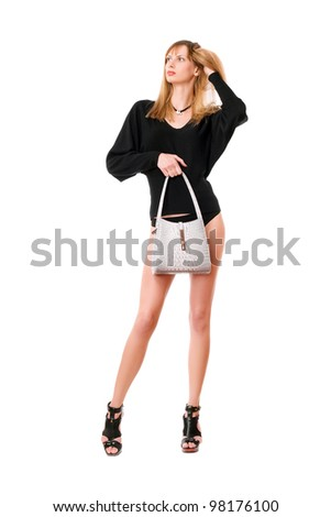 Sexy blonde lady with the white purse - stock photo