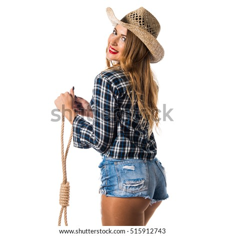 sexy blonde woman cowgirl stock photo (royalty free) (royalty free