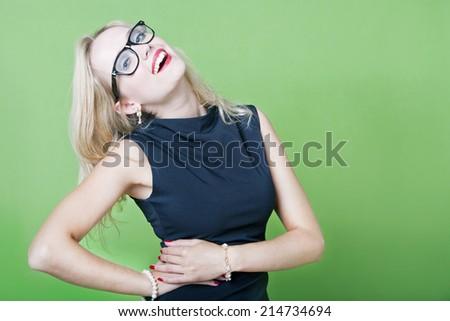 Sexy blonde woman wearing eye wear - stock photo