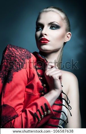 sexy blonde woman with red lips - stock photo
