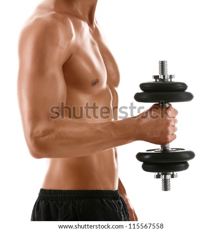 Sexy body of muscular athletic man with weight, isolated on white - stock photo