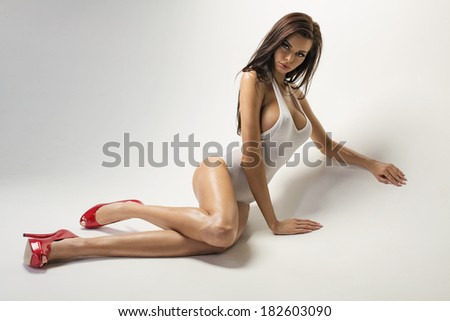 Sexy body of young beautiful model - stock photo