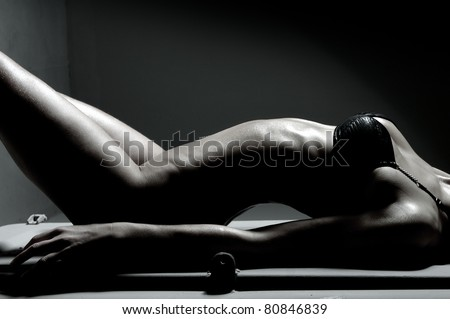 Sexy body of young sexy lady - stock photo