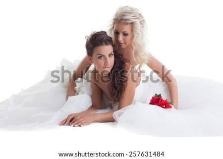 Sexy brides posing in pair, isolated on white - stock photo