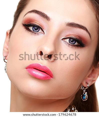 Sexy bright makeup woman face with long lashes. Closeup - stock photo