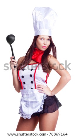 sexy brunette cook wearing uniform and holding a spoon, isolated against white background - stock photo