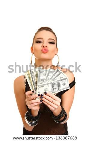Sexy brunette girl holding dollars on  white background - stock photo