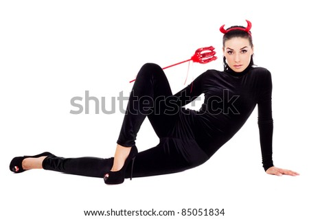 sexy brunette girl wearing a halloween costume of an imp  sc 1 st  Shutterstock & Sexy Brunette Girl Wearing Halloween Costume Stock Photo (Safe to ...