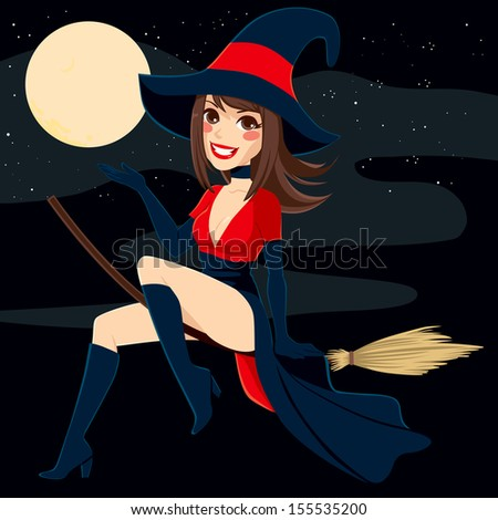 Sexy brunette witch flying on a broom over a full moon night background