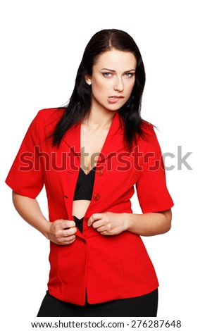 Sexy brunette woman take off red formal suit, bite lips, seduction - stock photo