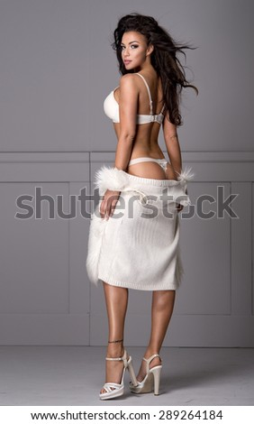 Sexy brunette woman wear lingerie and fur  - stock photo