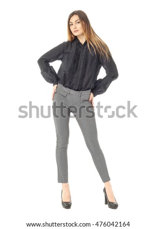 Sexy business woman on white isolated background