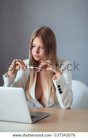 Sexy Business Woman Secretary Notebook Computer Stock