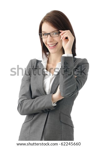 Sexy business woman with glasses - stock photo