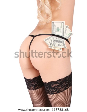 sexy butt and money isolated on white background - stock photo
