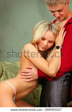Sexy caucasian couple in love sexual games