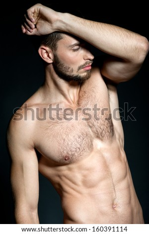 sexy caucasian fit man. Muscular Man  - stock photo