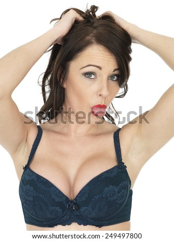 Sexy Cheeky Young Woman Posing in Bra and Tights - stock photo
