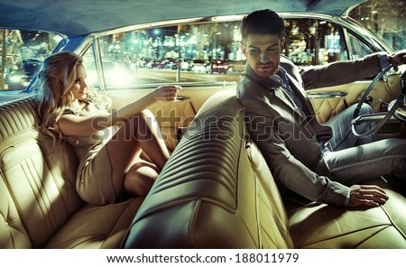 sexy couple car stock photo royalty free 188011979 shutterstock. Black Bedroom Furniture Sets. Home Design Ideas