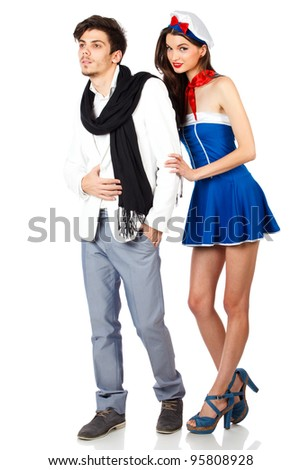 Sexy couple of young sailor woman and elegant handsome man. Isolated on white background. High resolution studio image