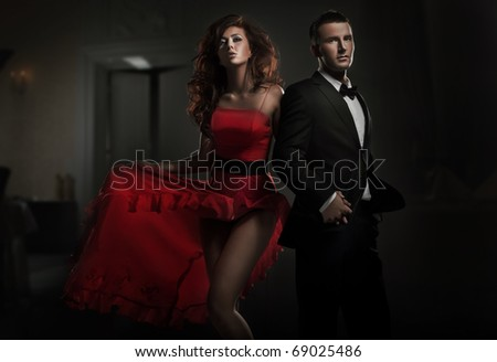 Sexy couple on the party - stock photo