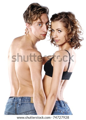 sexy couple on white background