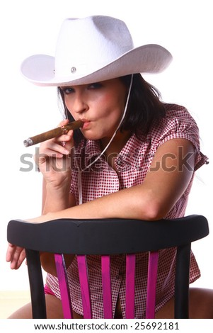 sexy cowgirl - stock photo