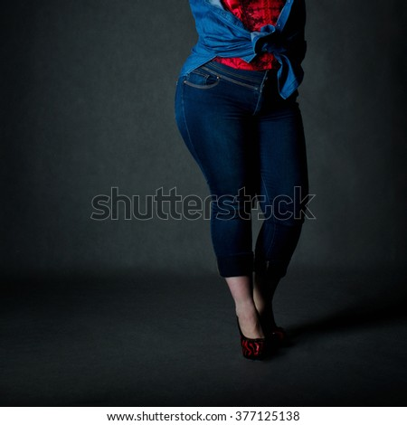 Sexy detail of a pretty plus size girl - stock photo